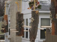 log bird feeders..made our own and filled with home made suet!
