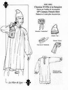NFH18001  Men's French Style Shirt Pattern  by LaFleurdeLyse