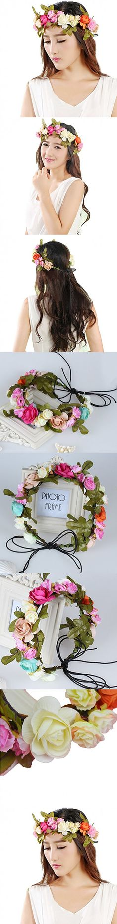 Vivivalue Floral Garland Flower Wreath Crown Headband with Ribbon Boho for Festival Wedding Multicoloured