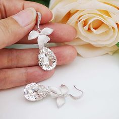 Leaf and Swarovski Crystal bridal earrings from EarringsNation