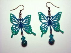 Cut Shrink Paper Art Jewelry Teal Butterfly Earrings