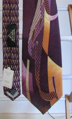 "New Vitaliano Pancaldi Silk Italy Necktie Tie Abstract ""Maldive"" 58 inch Purple…"