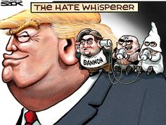 President-elect Donald Trump announced last weekend that Steve Bannon, the former head of Breitbart News, will be his chief White House strategist. Political Satire, Political Cartoons, Anti Trump Cartoons, Election Cartoons, Political Images, Caricatures, Trump One, Entertainment, Just In Case