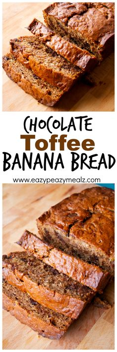 This AMAZING banana bread is easy to make, nice and chocolatey, and has some toffee bits mixed in for even more flavor. Chocolate Toffee Banana Bread - Eazy Peazy Mealz