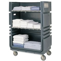 Metro CLT48 MetroTrux Convertible Linen Truck / Cart 48 Cubic Ft. Capacity, 4 Swivel Casters and 2 Folding Wire Shelves