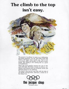 1975 Pikes Peak Hill Climb race advertisement. Hemi Dodge Cuda and Ford Torino