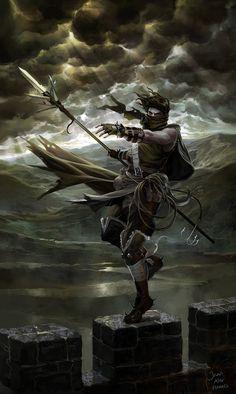 by Jana Schirmer. Spear wielding warrior dancing upon the battlements during a storm