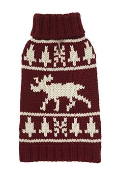 Fab Dog Americana Classics Knit Dog Sweater Moose Burgundy 12 Length *** You can find out more details at the link of the image.