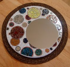 Stained Glass Mosaic Mirror titled Round and Round by zzbob, $185.00