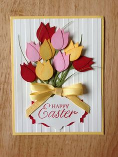 Stampin Up handmade all occasion,spring, happy easter card - bouquet of tulips.  Etsy.