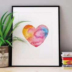 Watercolour Love Heart http://www.notonthehighstreet.com/themotivatedtype/product/watercolour-love-heart-illustrated-print Limited edition, order now!