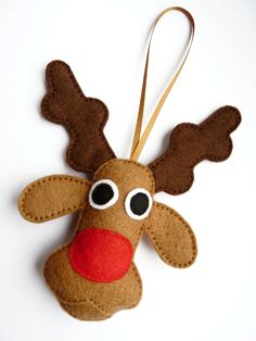 Rudolf the Red Nosed Reindeer Felt Christmas Tree Decoration / Felt Ornament / Holiday Gift Idea for Children - Christmas Decoration. £6,00, via Etsy.
