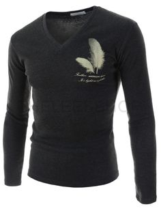 (CAL15-CHARCOAL) Mens Slim Fit V-neck Feather Logo Printed Long Sleeve Cotton Tshirts
