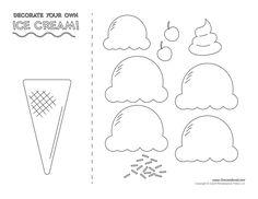 Ice Cream Cone Template Large - Invitation Templates