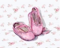 PRINT ON PAPER - Ballet Shoes on Floral b/g - FREE POSTAGE WORLDWIDE