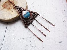 Tribal Necklace Copper Necklace Blue Brown by MaryBulanova on Etsy