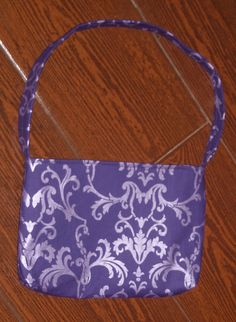 purple shimmer damask toddler purse by ChildishThoughts on Etsy