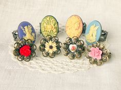 Flower Filigree ring beige daisy flower victorian by PetiteFraise, €8.00 #handmade #etsy #romantic #jewelry #ring #filigree #spring #flower #vintage #cameo #women #fairy