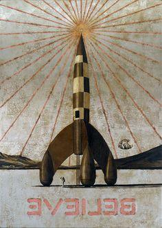 Jose Luis Ferragut - Believe Moon - 2011, oil on stainless steel canvas. 130 X 92 CM.
