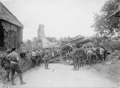MINISTRY INFORMATION FIRST WORLD WAR OFFICIAL COLLECTION (Q 2234) Moving an 8 inch Mark V howitzer into a new position during the advance; Becordel, 26 May 1917