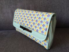 Leather clutch, Tricolor Mint-Yellow-Purple leather bag, Women leather clutch, Trendy braided leather strips, Soft genuine leather purse