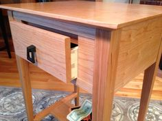 Nightguard End Table Hides Valuables — QLine Design Gun Storage, Secure Storage, Hidden Storage, Pvc Pipe Projects, Lathe Projects, Woodworking Projects, Secret Hiding Places, Hidden Gun, Wall Safe