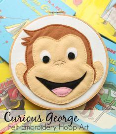 curious george felt embroidery hoop art-->>free template!!