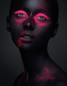 Creative makeup beauty body art theme stock photo (edit now) 617652932 Neon Photography, Makeup Photography, Artistic Photography, Fine Art Photography, Portrait Photography, Foto Face, Wow Art, Black Women Art, Fantasy Makeup
