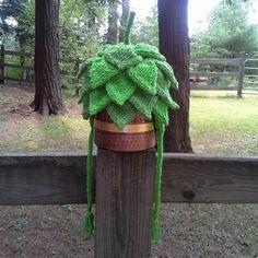 Hand Knit Custom 5Layer Hop Hat by LarksHeadBrewing on Etsy