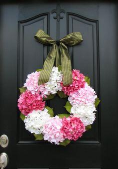 Hydrangea Wreath - Hydrangea Blooms for Spring and Summer - Shabby Chic Decor. $90.00, via Etsy.