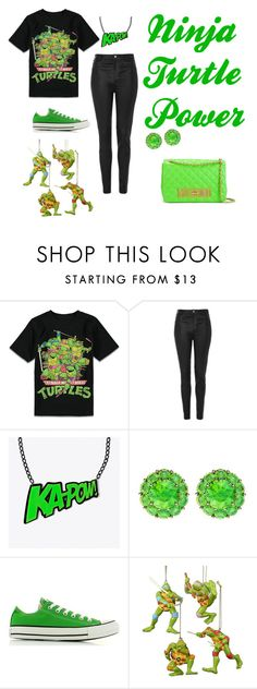 """""""ninja turtle power"""" by ashanti-kent ❤ liked on Polyvore featuring beauty, Forever 21 Boys, Topshop, Color My Life, Converse and Moschino"""