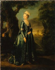 [Translated from Russian] Portrait of Grand Duchess Natalia Alekseevna, 1774,  Pierre Etienne Falconet. Note sleeves extend to wrists, or is she wearing matching silk arm warmers?