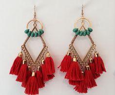 Latest tassels earrings fashion Tassel Jewelry, Hippie Jewelry, Diy Jewelry, Jewelry Box, Jewelry Accessories, Fashion Accessories, Handmade Jewelry, Fashion Jewelry, Jewelry Design