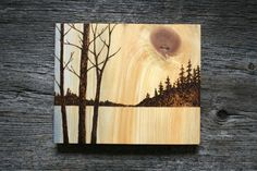 This beautiful landscape has been burnt into a piece of salvaged wood with a process called pyrography or commonly referred to as wood burning. I have added a soft wash in golden yellows with a touch of blue to create a warm glow in the sky and to enhance the wonderful grain of the wood. The piece measures about 7 1/2 inches tall by 9 1/4 wide tall on solid wood 3/4 of an inch thick. Signed and dated on the back. A warm touch of nature for your home! Carefully wrapped and read...