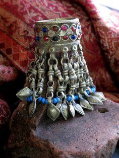 Large Vintage Kuchi Tribal Jewelry Dangle Hair Ring