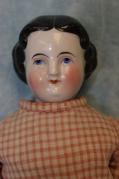 "12.5"" Antique China Head Doll Orig china limbs Cloth body c.1865 Needs TLC 