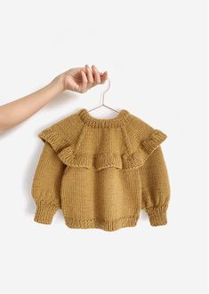 Knitted Ruffle Sweater for girl [ Knitting Pattern & Tutorial ] Kids Knitting Patterns, Baby Sweater Patterns, Baby Sweater Knitting Pattern, Knitted Baby Cardigan, Knit Baby Sweaters, Knitting For Kids, Girls Sweaters, Knitting Children Sweater, Knitting Baby Girl