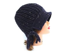 Plum Purple Cloche - Women's Hat - 1920s Cloche Hat - Flapper Hat - Tweed Cloche - Brimmed Beanie - Knit Accessories by BettyMarieJones on Etsy