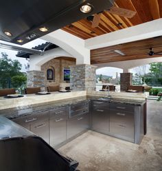 Stunning outdoor kitchen! Stainless steel cabinets provide a modern, clean look.