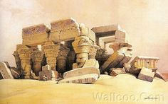 David Roberts Paintings : The Ancient Egypt  - Ancient Egyptian Architecture :  Kom Ombo, 1838  14