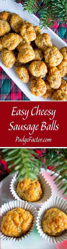 Easy Cheesy Sausage Balls are a perfect appetizer. With only three ingredients, these little gems have it all. They're super simple to make, taste incredible warm or at room temperature, freeze beautifully, and are just as good reheated. Who could ask fo Yummy Appetizers, Appetizers For Party, Appetizer Recipes, Simple Appetizers, Cheese Appetizers, Parties Food, Appetizer Ideas, Thanksgiving Appetizers, Christmas Appetizers