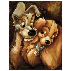 Pixar Drawing - There is no way to disguise the stars in their eyes as our favorite canine couple pose for a romantic portrait by Darren Wilson. This fine art print inspired by Walt Disney's animated classic will forever warm your heart. Art Disney, Disney Artwork, Disney Kunst, Disney Drawings, Disney Love, Disney Couples, Disney Paintings, Art Paintings, Walt Disney Animation