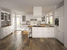 Komplett weiße Landhausküche mit Marmor-Theke   Küche ...   {Landhausküche 18}