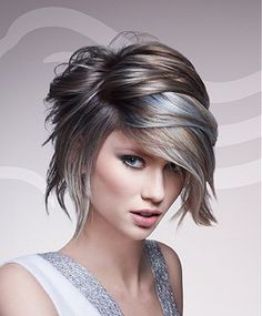 Mobile Wella - medium brown straight hair styles (Style No: Short Hair Cuts, Short Hair Styles, Brown Straight Hair, Thick Hair, Color Del Pelo, Corte Y Color, Haircut And Color, Hair Highlights, Brown Hair Silver Highlights