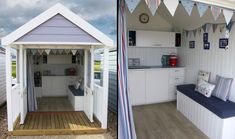 Ecologic Developments were asked to design and build a new day hut at Calshot in Hampshire. The client wanted something more high-end than what the other hut builders had to offer. Cabana Decor, Beach Hut Decor, Cabana Ideas, Beach Hut Interior, Shed Interior, Beach Hut Shed, Beach House, Summer House Interiors, Gardens