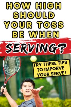 How high should your toss be on your tennis serve? Find out the answer to this popular tennis questions and learn more simple ways to improve your tennis serve. Tennis Games, Tennis Gear, Tennis Tips, Sport Tennis, Tennis Serve, Tennis Match, Tennis Scores, How To Play Tennis, Tennis Funny