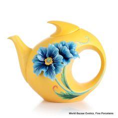 FZ02872 Blue poppy design teapot Franz Porcelain new 2012 strength and will