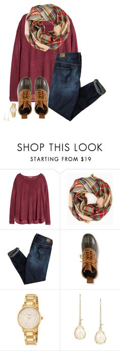 """""""christmas vibes"""" by apocketfulofprep ❤ liked on Polyvore featuring H&M, American Eagle Outfitters, L.L.Bean, Kate Spade, Kendra Scott, women's clothing, women's fashion, women, female and woman"""