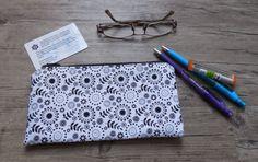 White Floral Zipper Pouch Pencil Case Makeup by GabbysQuilts, $13.00