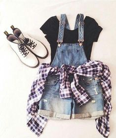 18 Awesome Grunge Outfits Ideas for Women To Try This Season -- Overall shorts w., Summer Outfits, 18 Awesome Grunge Outfits Ideas for Women To Try This Season -- Overall shorts with a flannel Source by Teen Fashion Outfits, Mode Outfits, Cute Fashion, Look Fashion, Trendy Fashion, Fall Outfits, Girl Fashion, Fashion Trends, Hipster Outfits For Teens